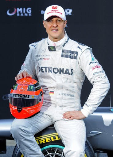 Michael Schumacher of Germany during the new F1 W03 official presentation of Mercedes GP Formula One team 2012 at the Montmelo racetrack near Barcelona, Spain, Tuesday, Feb. 21, 2012.