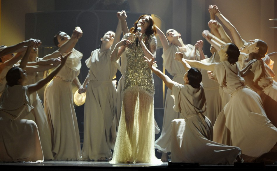 Florence Welch performs with her band Florence  The Machine during the BRIT Music Awards at the O2 Arena in London