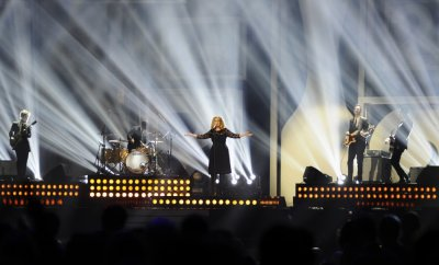 Adele performs during the BRIT Music Awards at the O2 Arena in London
