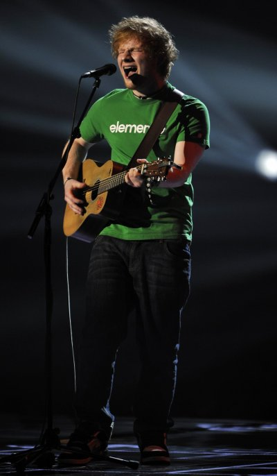 Ed Sheeran performs during the BRIT Music Awards at the O2 Arena in London