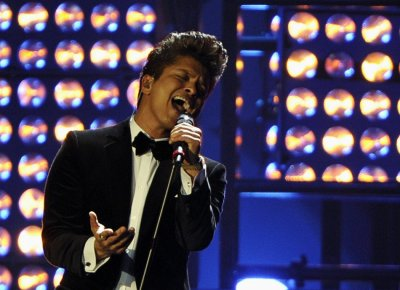 Bruno Mars performs during the BRIT Music Awards at the O2 Arena in London