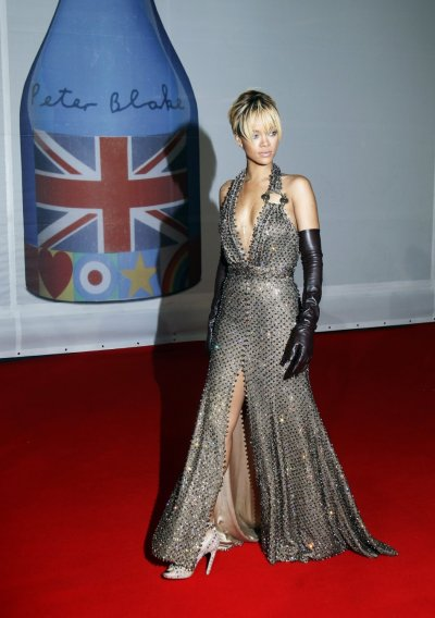 Rihanna arrives for the BRIT Music Awards at the O2 Arena in London