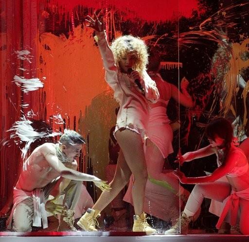 Rihanna performs during the 2012 Brit awards at The O2 Arena, London.