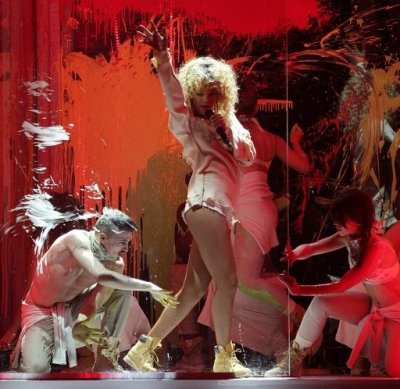 Rihanna performs during the 2012 Brit awards at The O2 Arena, London.