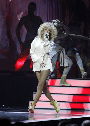 Rihanna performs during the Brit Awards 2012 at the O2 Arena in London, Tuesday, Feb. 21, 2012.