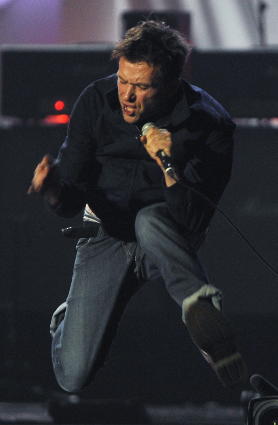 Damon Albarn performs with his band Blur during the BRIT Music Awards at the O2 Arena in London
