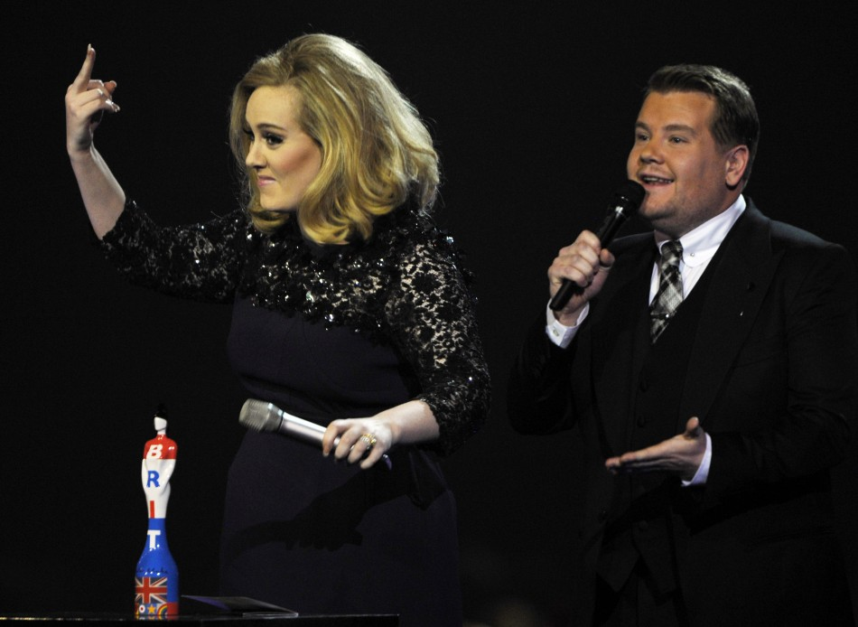 Adele and  James Corden