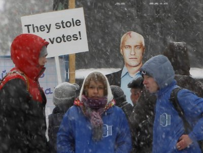 Anti-Putin protesters claimed the parliamentary elections in December were stolen