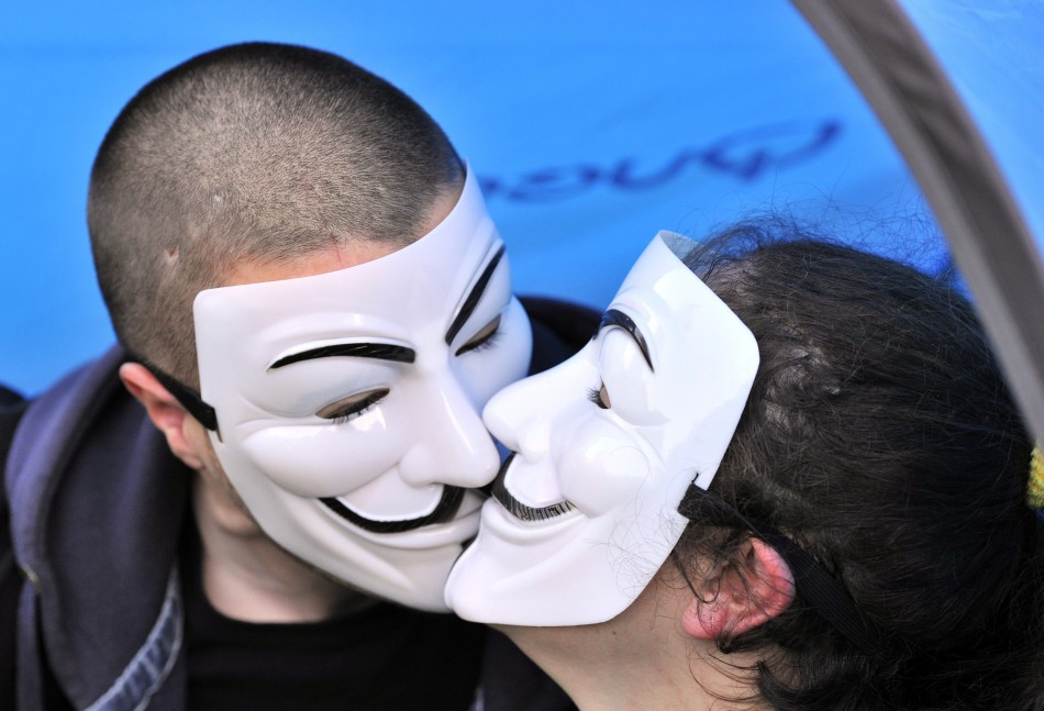 Occupiers share a tender moment