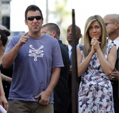 Actress Jennifer Aniston with Adam Sandler