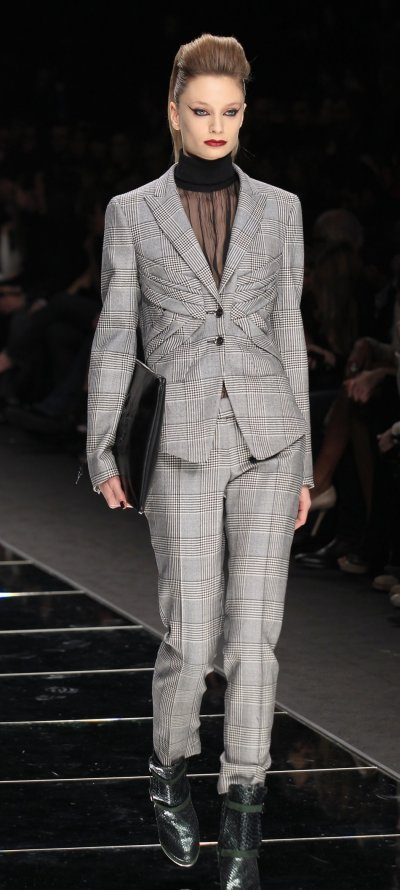A model presents a creation from the John Richmond 2012 AutumnWinter collection during Milan Fashion Week