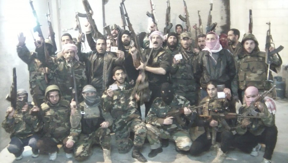 Syrian soldiers who defected to join Free Syrian Army in Al Baiadah near Homs