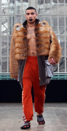 A model on the catwalk for the Topman and Fashion East fashion show