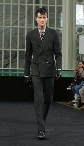 A model on the catwalk for the TOPMAN Design autumn/winter London Fashion Week show