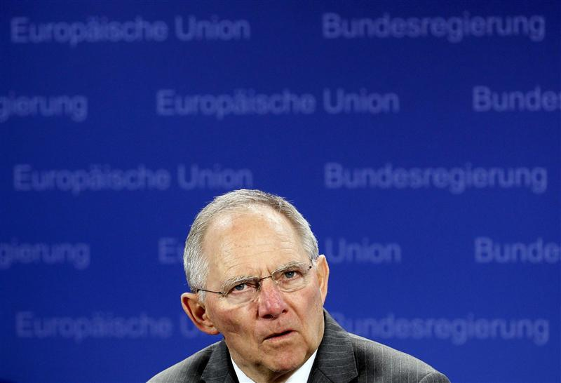 Germany's Finance Minister Schaeuble holds a news conference after a Eurogroup meeting in Brussels