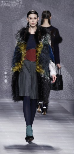 A model wears a creation part of the Fendi women039s Fall-Winter 2012-2013 collection that was presented in Milan, Italy, Thursday, Feb.23, 2012.