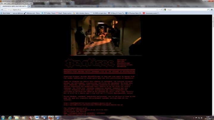 The defaced homepage of Dayton Ohio InfraGard