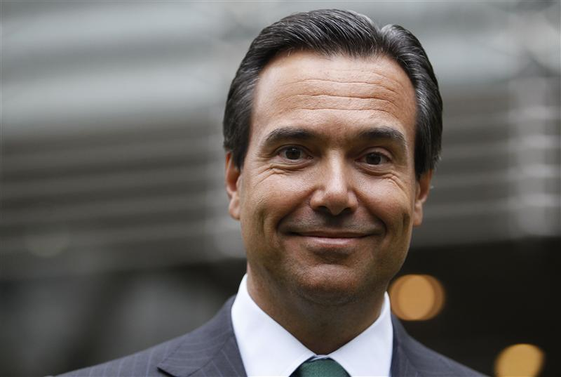 Lloyds Banking Group CEO Antonio Horta-Osorio poses outside the bank's headquarters on his first day back at work after taking a leave of absence due to exhaustion, in the City of London