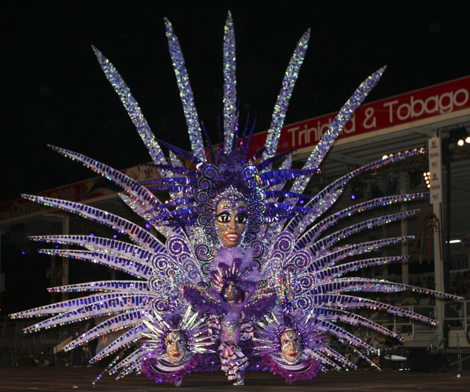"Competitor Kay Mason wears a costume called ""Amethyst Rising"" at the finals of the costume competition Queens of Carnival"
