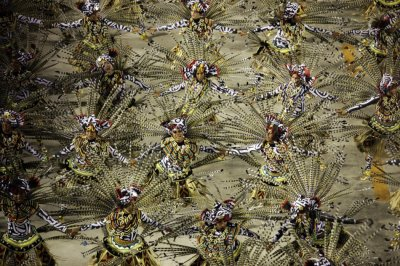 Revellers from the Grande Rio samba school participate in the annual Carnival parade