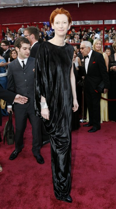 Best supporting actress Oscar nominee Tilda Swinton arrives at the 80th annual Academy Awards in Hollywood