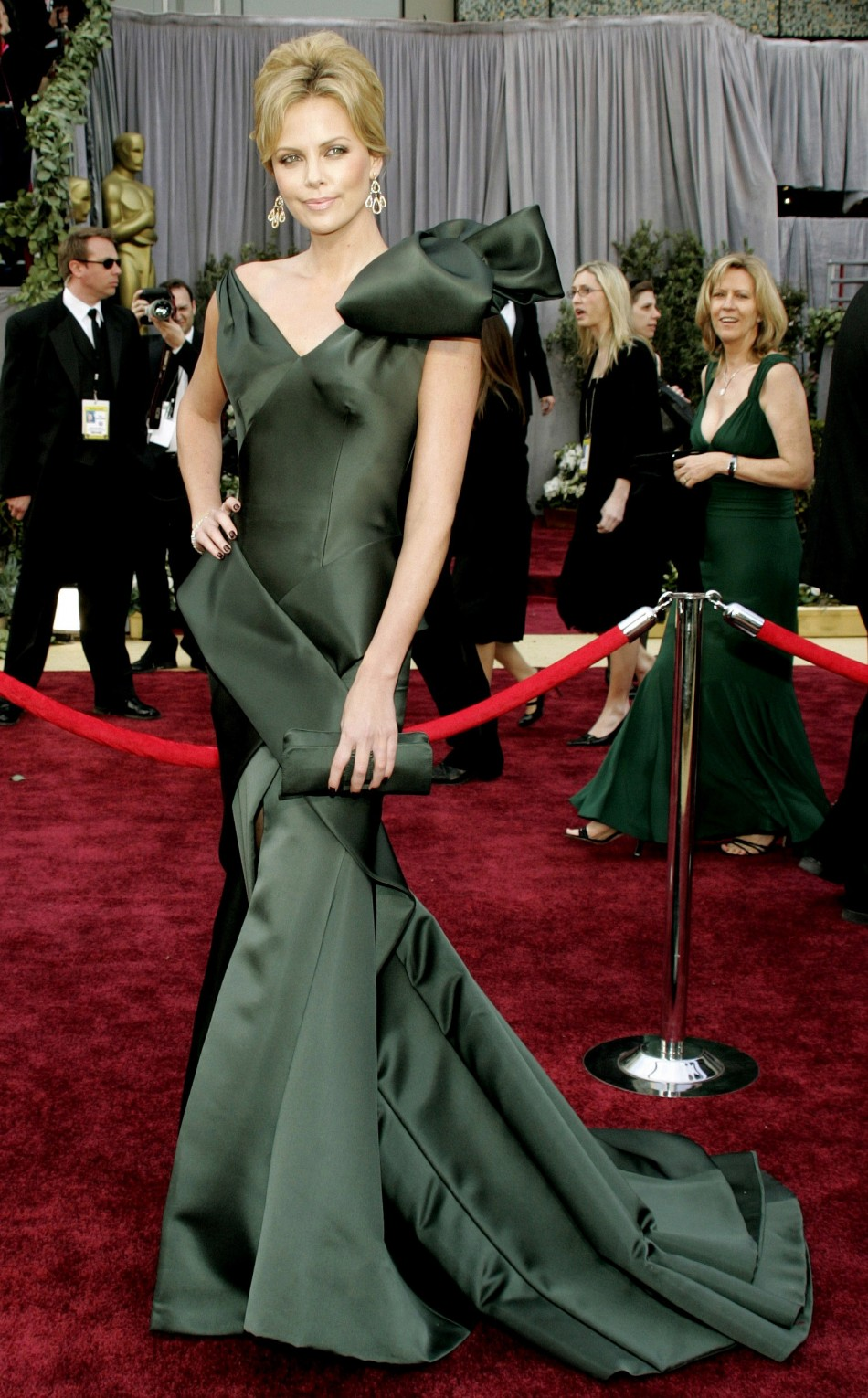 "Actor Charlize Theron, best actress nominee for ""North Country,"" arrives at the 78th annual Academy"