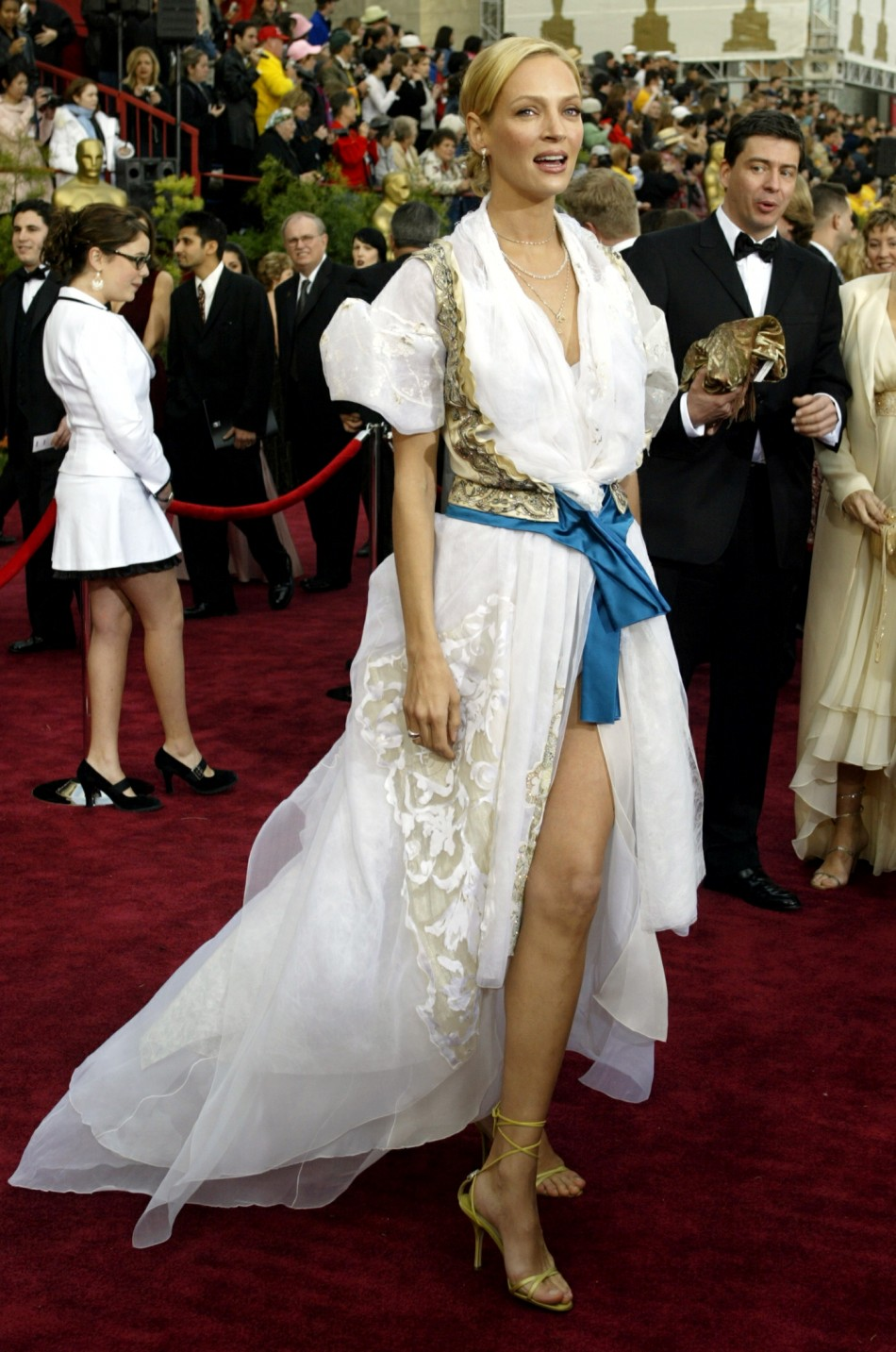 Actress Uma Thurman arrives for the 76th annual Academy Awards at the Kodak Theatre in Hollywood,