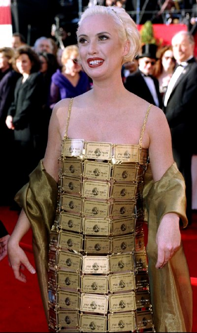 Australian Lizzy Gardiner arrives at the 67th annual Academy Awards March 27 wearing a gown made of American Express credit cards she designed