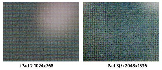 iPad 2 and rumoured iPad 3 displays compared