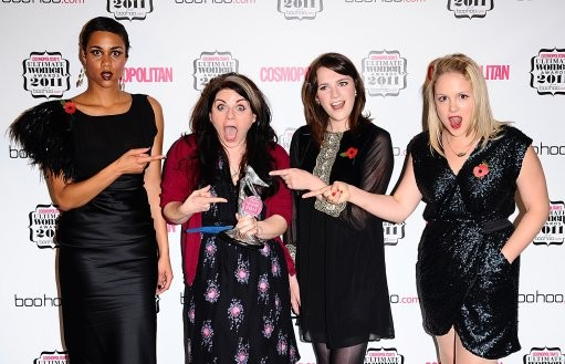 Zawe Ashton, Charlotte Ritchie and Kimberley Nixon with 039Ultimate Writer039 winner Caitlin Moran second left, in the press room at the Cosmopolitan Ultimate Women Awards at Banqueting House, Whitehall, London.