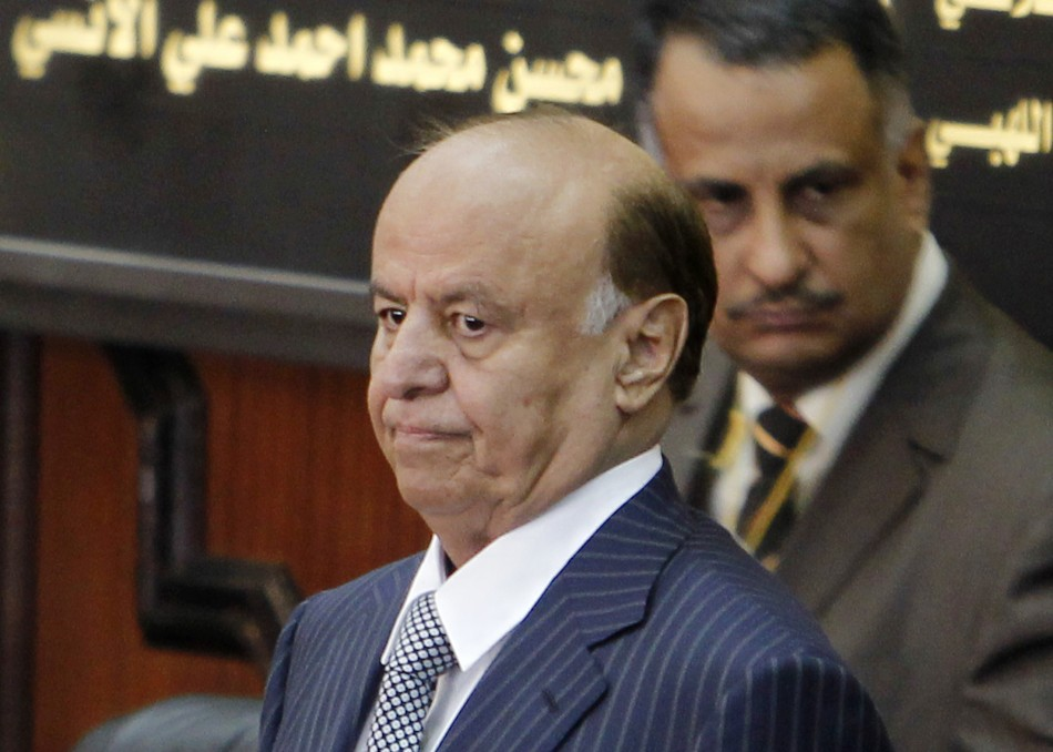Yemen's newly elected president Abd-Rabbu Mansour Hadi looks on before taking oath at the parliament in Sanaa