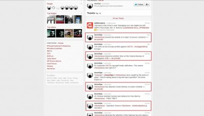 Tweets accepting hacks: Anonymous