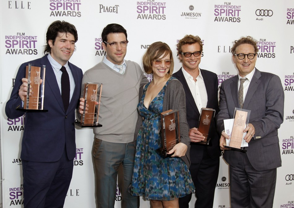 Cast and crew members JC Chandor, Zachary Quinto, Tiffany Little Canfield, Simon Baker and Bernard Telsey