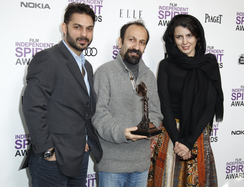 "Cast members Leyla Hatami (R) and Peyman Moadi of the film ""A Separation"" by Iranian filmmaker Asghar Farhadi (C)"