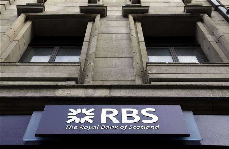 A logo of an Royal Bank of Scotland (RBS) is seen at a branch in London