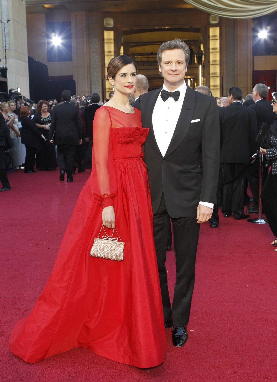 Firth and his wife Livia Giuggioli pose at the 84th Academy Awards in Hollywood