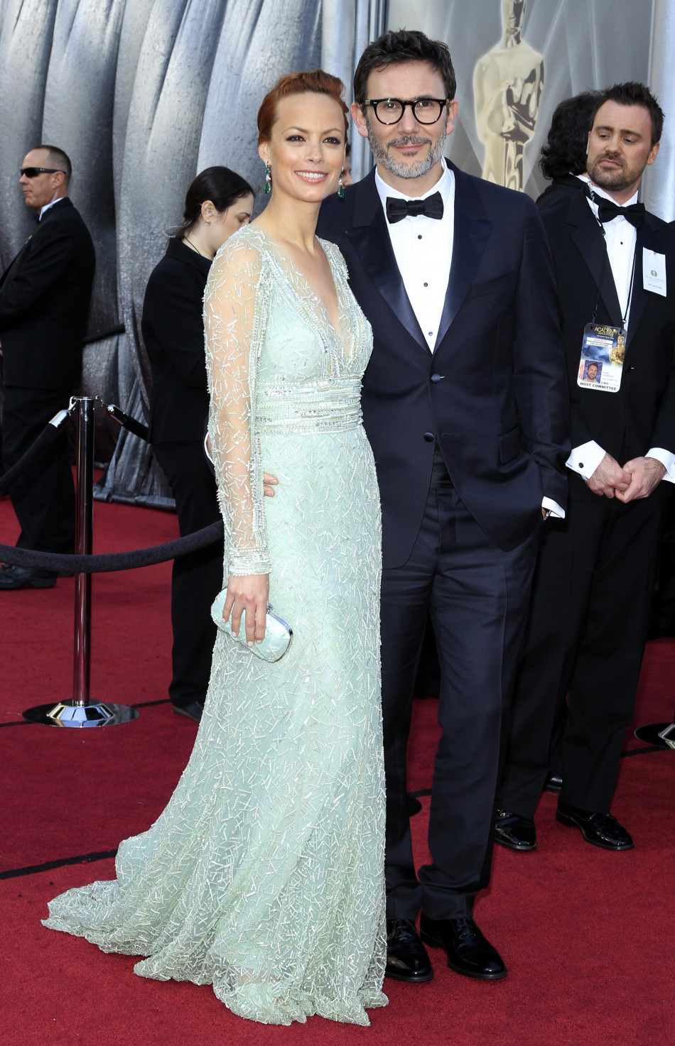Berenice Bejo, best supporting actress nominee, and her husband French director Michel Hazanavicius, best director nominee, arrive at the 84th Academy Awards in Hollywood