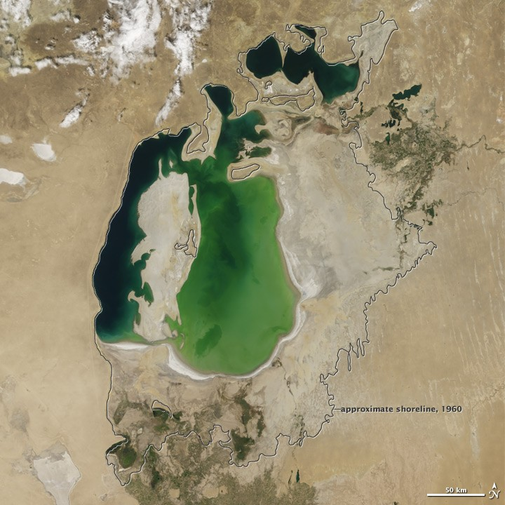 View of Aral Sea in 2000