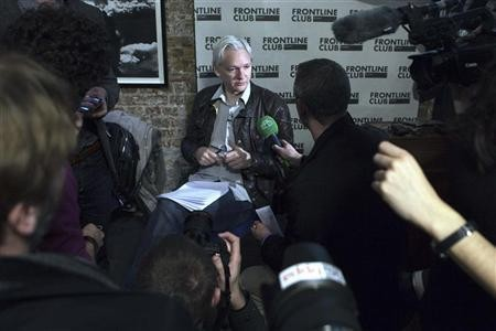 WikiLeaks founder Julian Assange speaks at a news conference in London, February 27, 2012.
