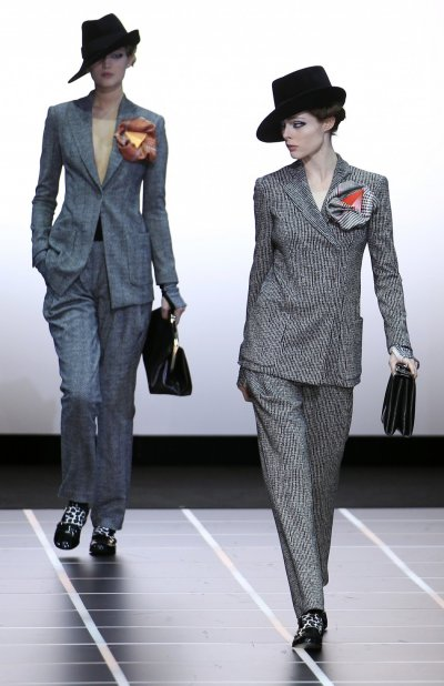 Milan Fashion Week Giorgio Armani Opts for Fedora Hats For Sexy Masculine Looks