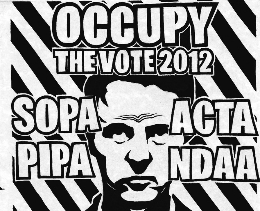 The campaign logo Occupy the Vote 2012