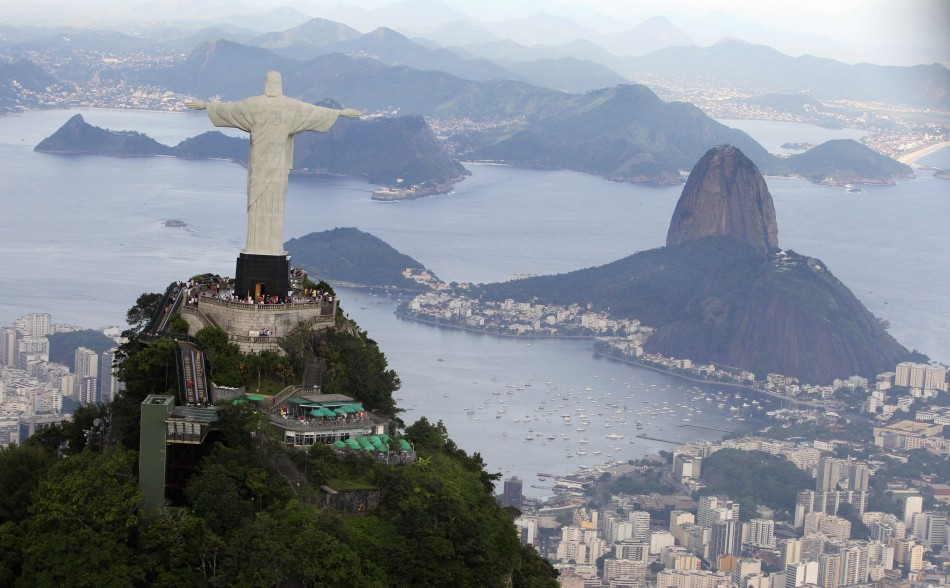 An aerial view of the famous Christ the Redeemer atop of Corcovado mountain in Rio de Janeiro