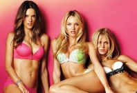 Victoria Secret Models Candice Swanepoel, Alessandra Ambrosio and Erin Heartherton pose for the American Spring Campaign 201