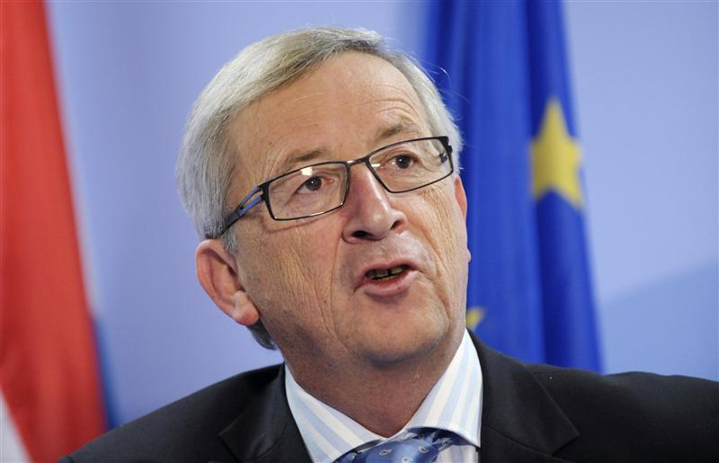 Luxembourg's PM Juncker addresses a news conference after an European Union summit in Brussels