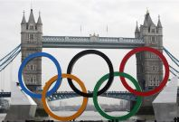 Olympic rings in front of Tower Bridge in London