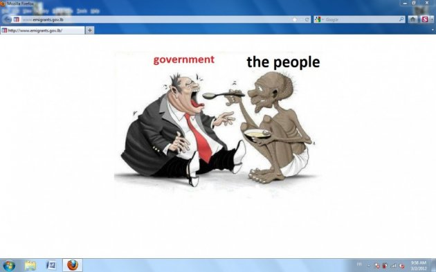 The defaced homepage of Lebanon's ministry for displaced people