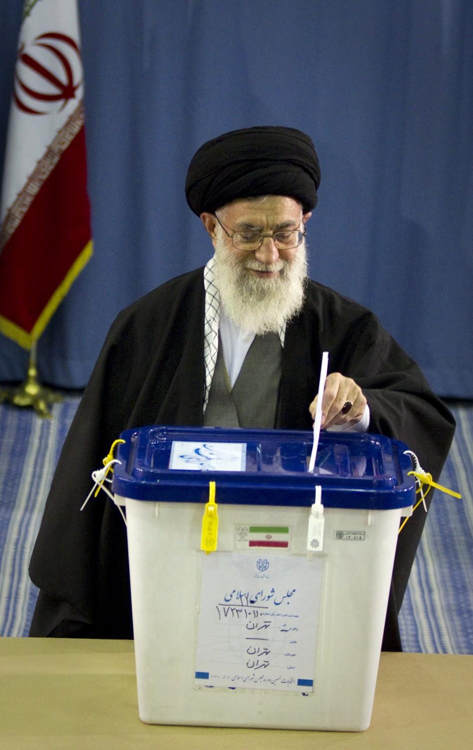 Ayatollah Ali Khamenei votes parliamentary elections in Tehran