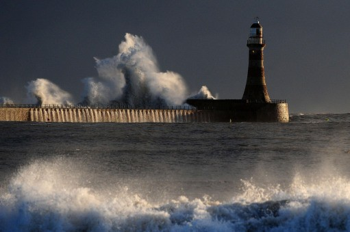 Storm waves hit Seaham lighthouse in Sunderland as an arctic weather front hits the east coast.