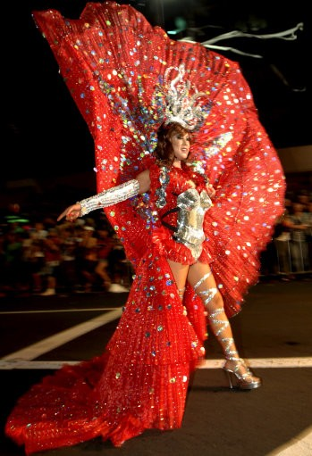 A participant takes part in the 33rd Sydney Gay and Lesbian Mardi Gras Parade in Sydney, Australia, Saturday, Feb. 27, 2010. Started in 1978 as a protest march for gay rights, the parade attracts hundreds of thousands of spectators to the city to watch th