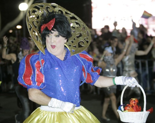 A man dressed as Snow White parades during the 30th anniversary of Sydney Gay and Lesbian Mardi Gras in Sydney, Australia, Saturday, March 1, 2008.